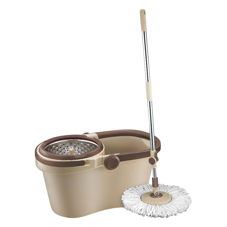 Bộ Cây Lau Nhà Xoay Tay Compact Spin Mop LockLock ETM466: Thùng Giặt + Cây + Bông Lau