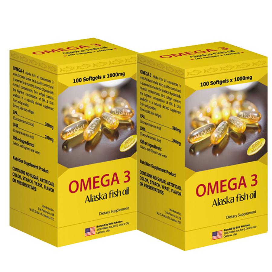 Combo 2 Hộp Thực Phẩm Chức Năng Viên Nang Mềm Dầu Cá Hồi Omega 3 Sirio Pharma (60 viên)