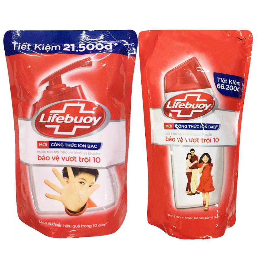 Combo Lifebuoy Bảo Vệ Vượt Trội Tiết Kiệm (Túi Sữa Tắm 850g Và Túi Nước Rửa Tay 450g)