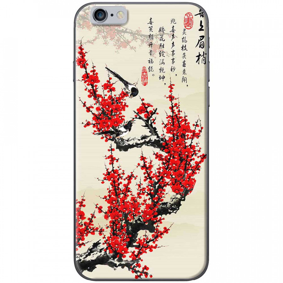 Ốp lưng dành cho iPhone 6 Plus, iPhone 6S Plus mẫu Hoa đào đỏ thư pháp