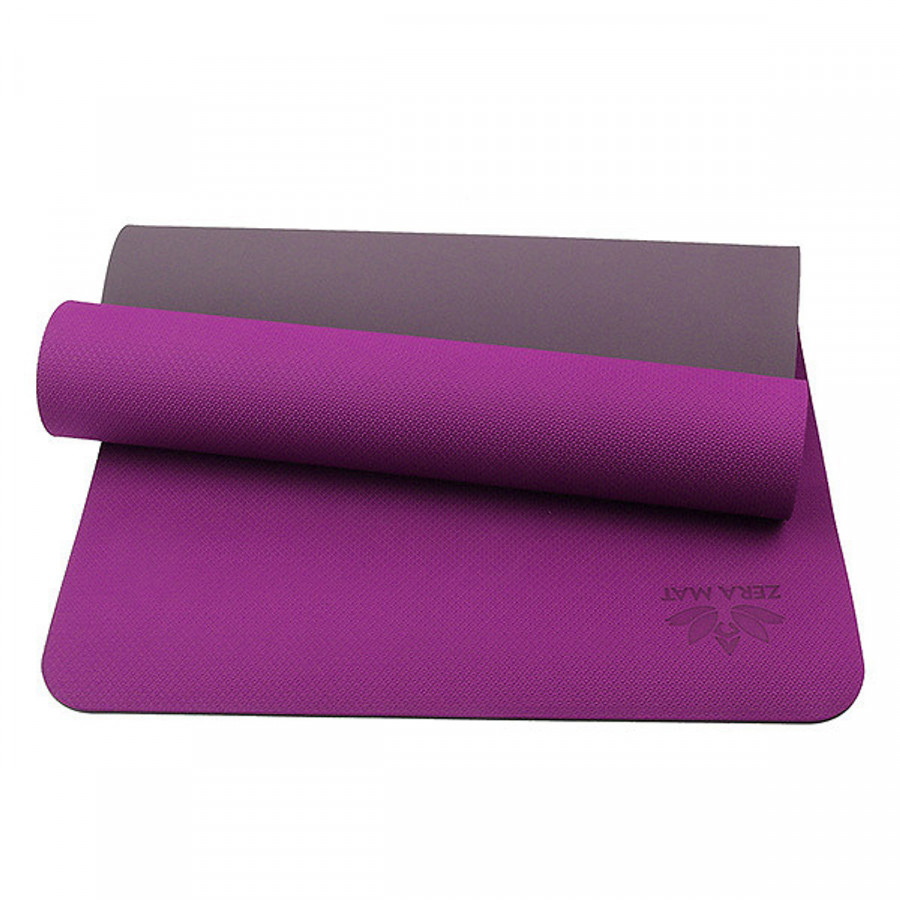 Thảm Tập Yoga TPE ZERA 8mm 2 Lớp Màu Tím Tặng Kèm túi