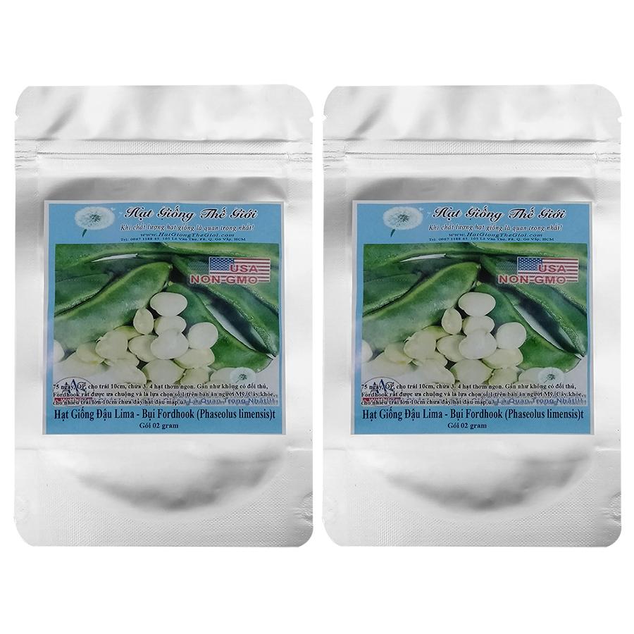 Bộ 2 túi 2g Hạt Giống Đậu Lima - Bụi Fordhook (Phaseolus limensis)