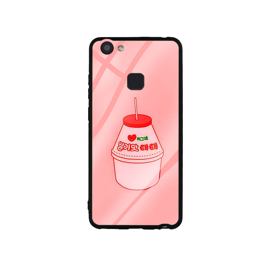 Ốp Lưng Kính Cường Lực cho điện thoại Vivo V7 Plus - Tea Milk
