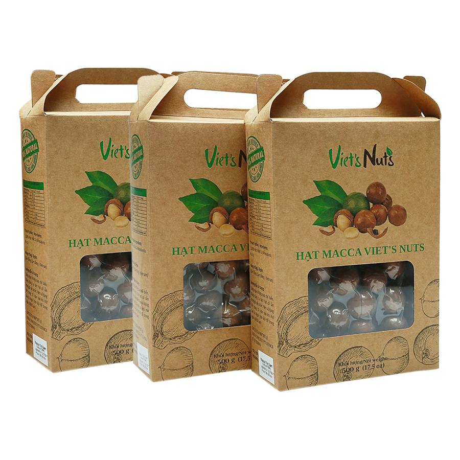 Combo 3 Hộp Hạt Macca Nứt Vỏ Viets Nuts (500g/Hộp)