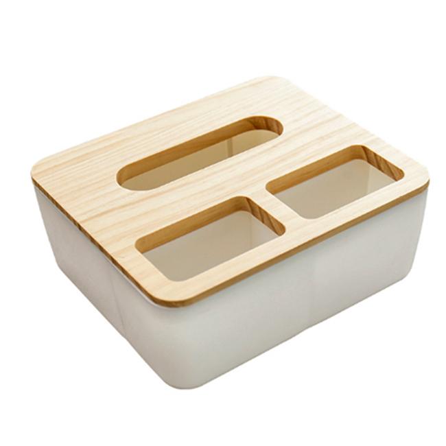 Hộp đựng giấy nắp gỗ 3 ngăn
