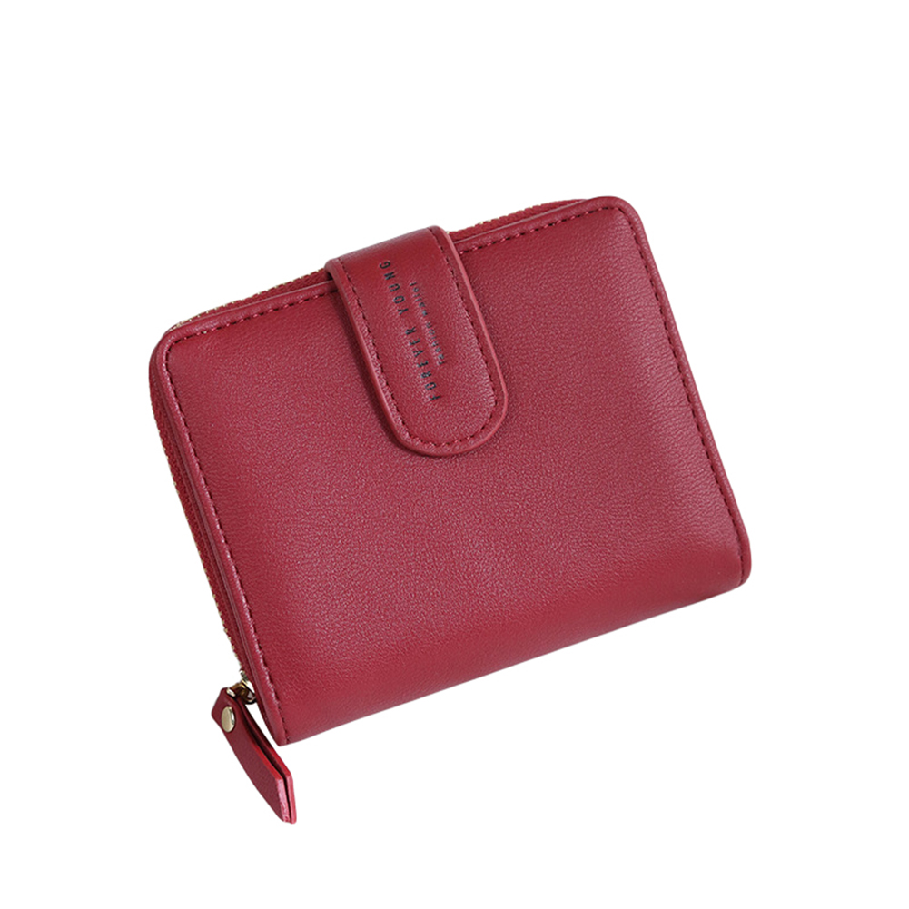 Lady Fashion Faux Leather Wallet Card Holder Zipper Short Purse Christmas Gift