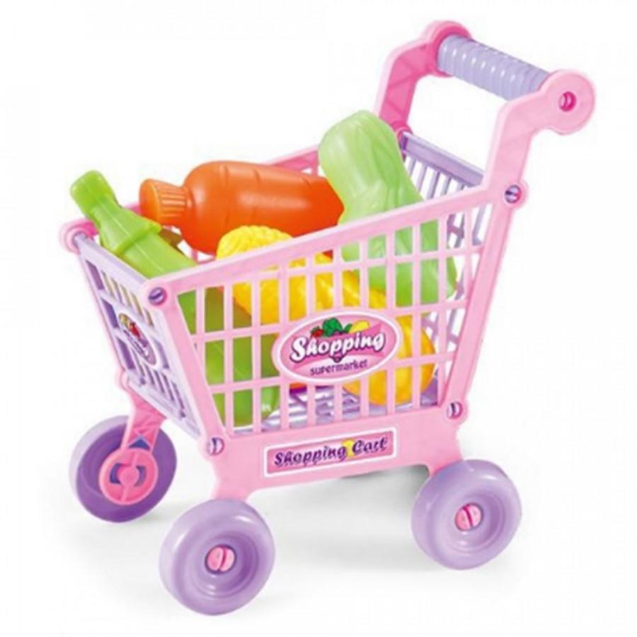 Shopping Cart Food Supermarket Vegetables Fruits Toy Set Kids Educational
