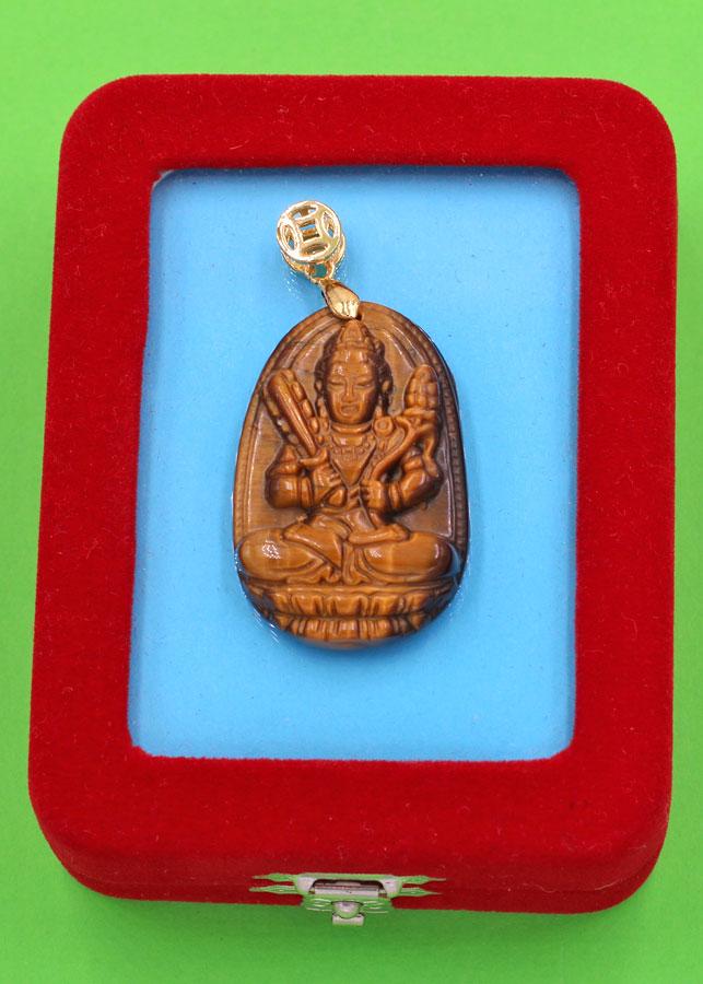 Mặt Phật - Hư Không Tạng - đá mắt hổ 3.6cm - kèm hộp nhung - tuổi Sửu, Dần
