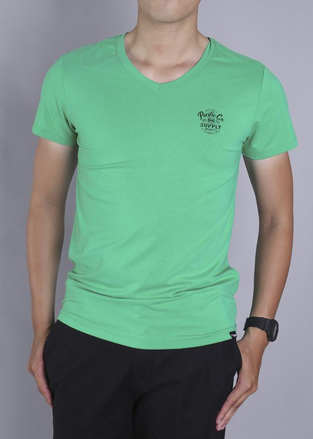 Áo Tshirt cổ tim BodyFit-98.22018-Xanh la-TS18158N-GRE