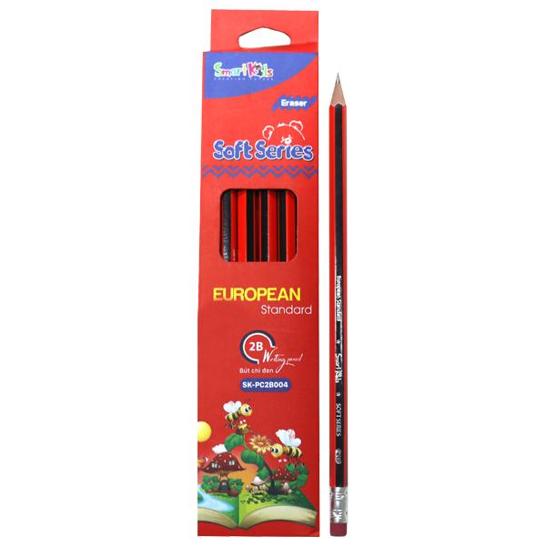 Hộp 12 Bút Chì Đen SMARTKIDS Soft Series Có Gôm 2B SK-PC2B004 - Đỏ (21.2 x 4.6 x 1.5 cm)