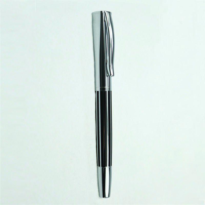 Bút ký viết gel vỏ kim loại sọc đen trắng Baoer 051