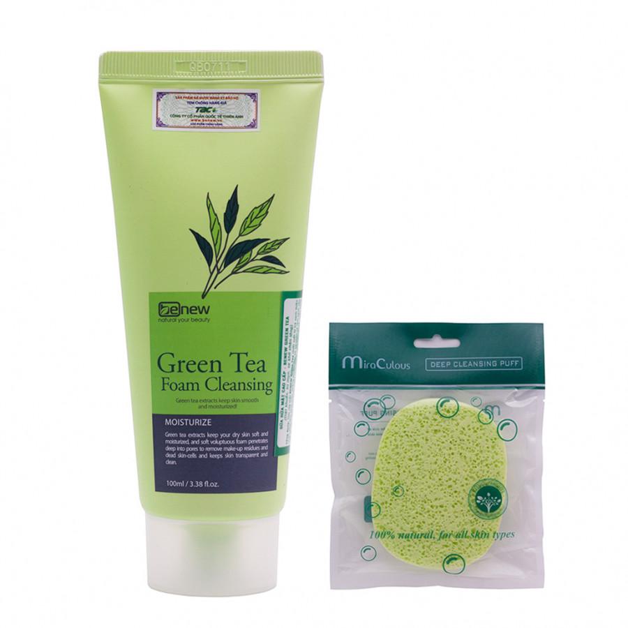 Combo Sữa rửa mặt trà xanh Hàn Quốc cao cấp Benew Green Tea (100ml) + Tặng Ngay Bông bọt biển massage mặt Hàn Quốc Mira...