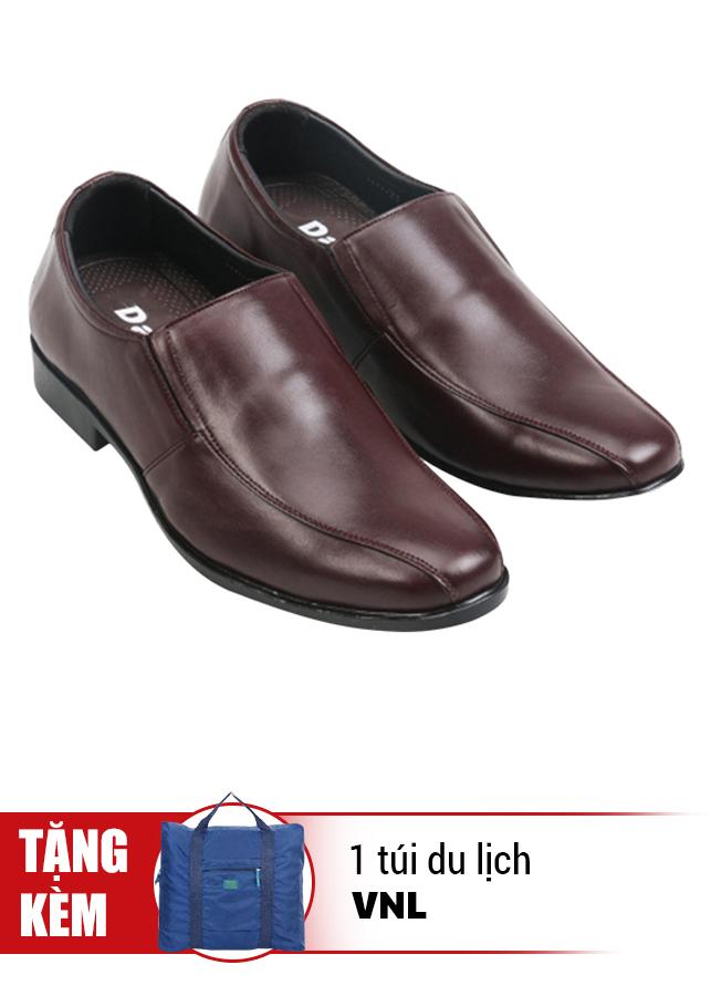 Giày Tăng Chiều Cao Da Thật Kiểu Dáng Trẻ Trung VNL VNL0ALZD21CN- QTTDL - Nâu + Tặng 1 Túi Du Lịch Gấp Gọn