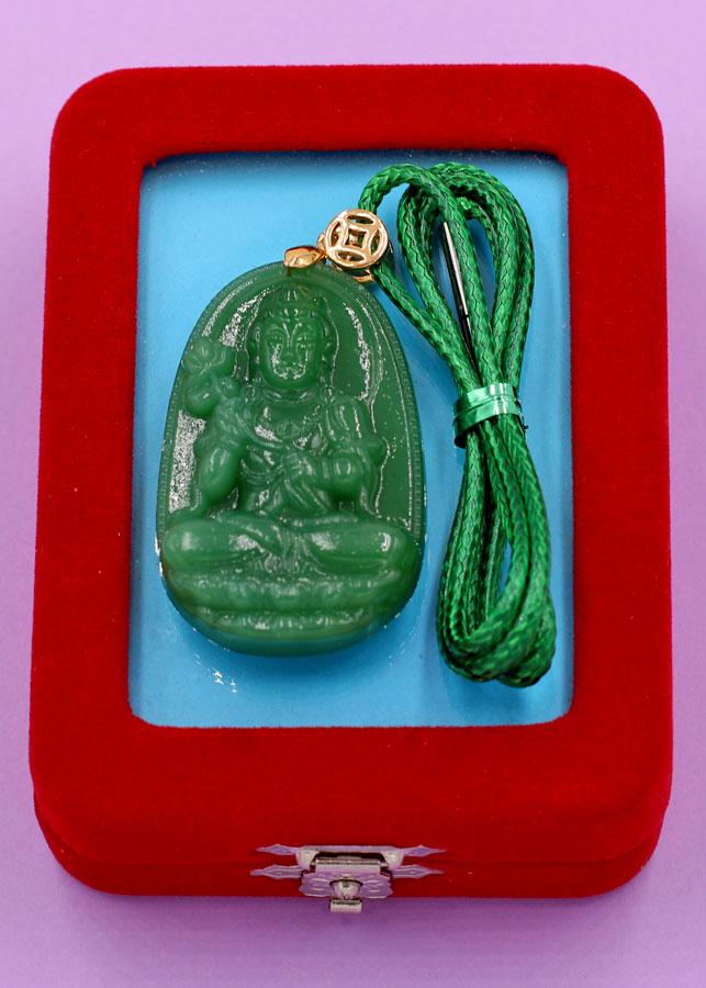 Dây chuyền mặt Đại Thế Chí Bồ Tát - thạch anh xanh 5cm DXTXN4 - kèm hộp nhung - tuổi Ngọ