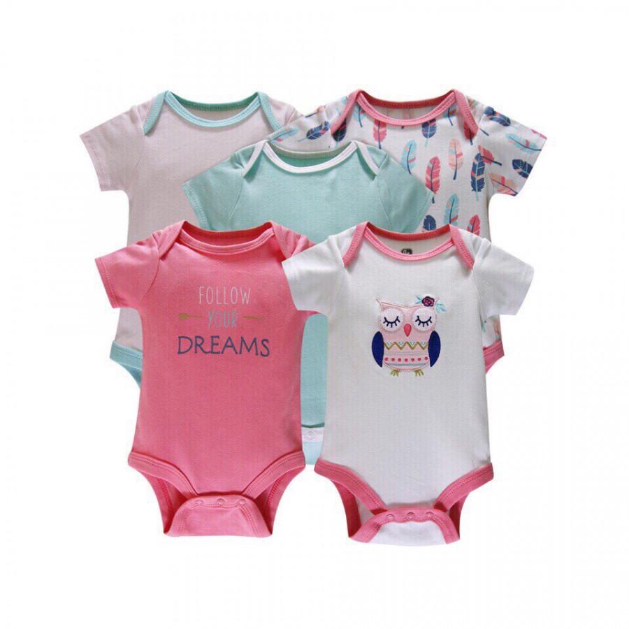 Set 5 áo liền quần, bodysuit cho bé gái - Mẫu cú mèo hồng