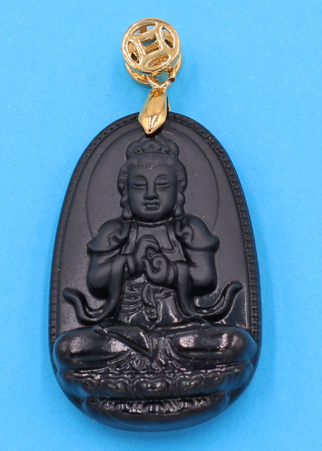 Mặt Phật Đại Nhật Như Lai - thạch anh đen 3.6cm - tuổi Mùi, Thân