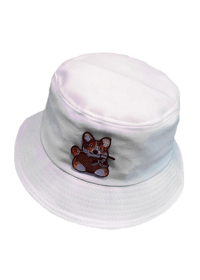 Mũ vành màu trắng chuột ngậm hoa MV43