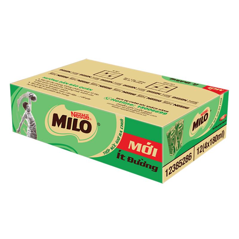 Thùng 48 Hộp Sữa Nestlé Milo Ít Đường (180ml/ Hộp)