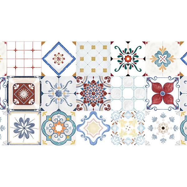 Decal gạch bông - KT 60x180cm - set 27 ô 20x20 - Ms: KT05