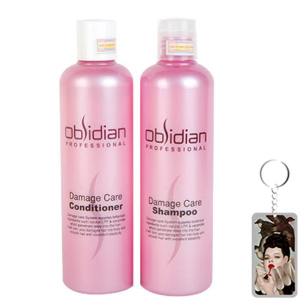 Cặp dầu gội/xả tái tạo tóc Obsidian Professional Damage Care Hàn Quốc (2x300ml) tặng kèm móc khoá
