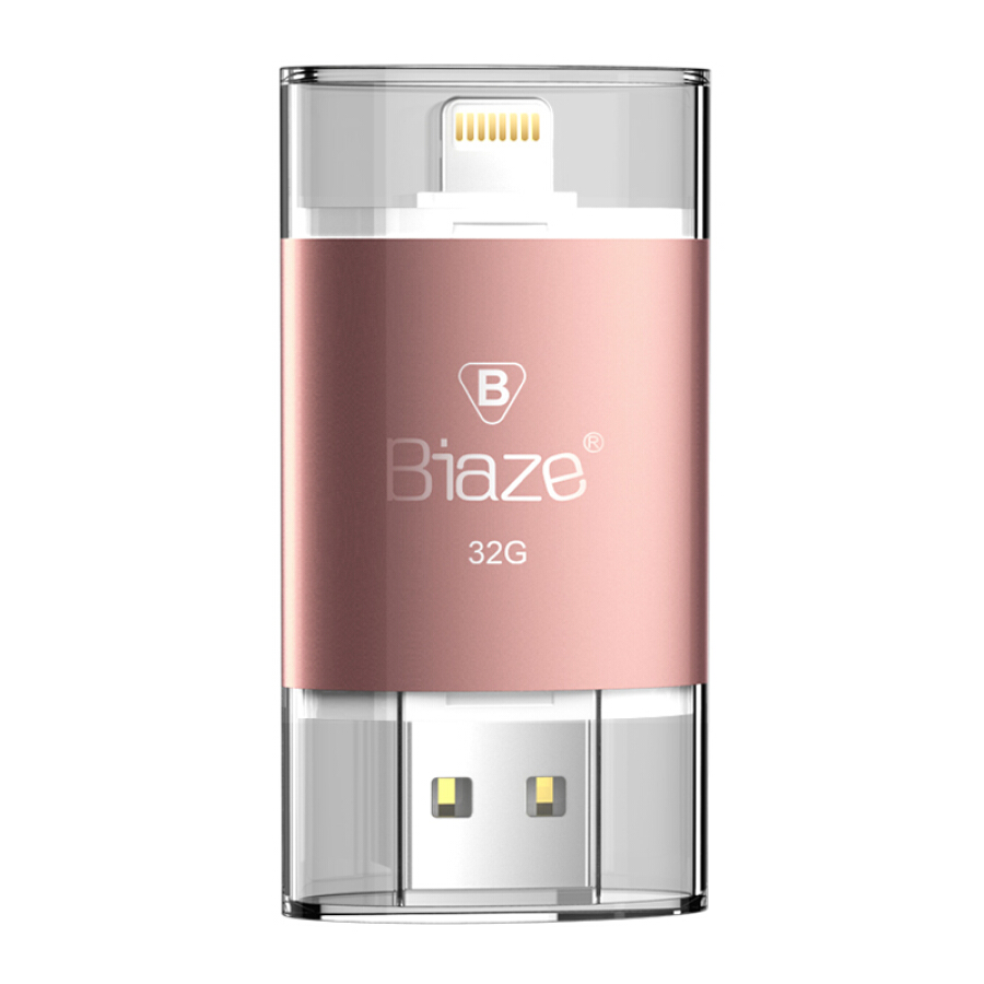 USB 32GB Hai Đầu Hỗ Trợ Lưu Trữ Cho iPhone/iPad - Biaze U2 - Hồng Vàng