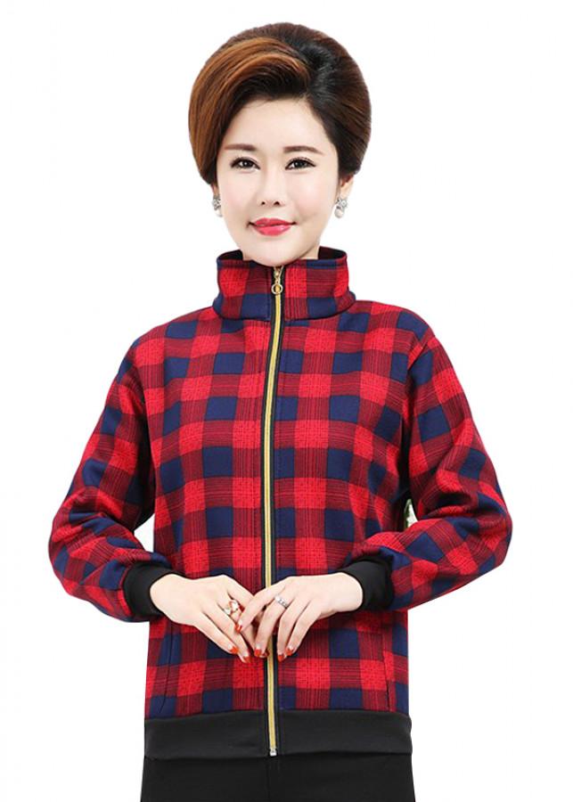 Áo Khoác Nữ Caro Tay Dài Trung Niên 2AK1128