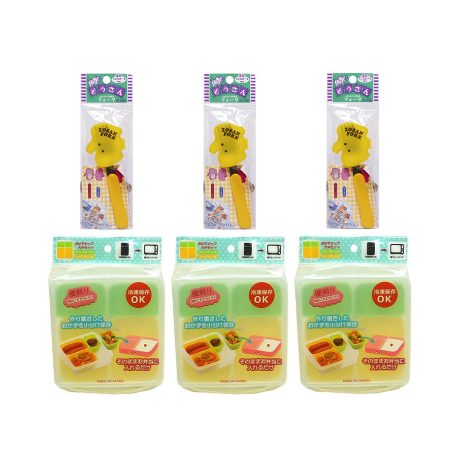 Combo Khay Ăn Dặm Chia 4 Ngăn Cho Bé + Nĩa Inox Cho Bé Kèm Hộp Đựng Hình Thú Nội Địa Nhật Bản - Giao Màu Ngẫu Nhiên