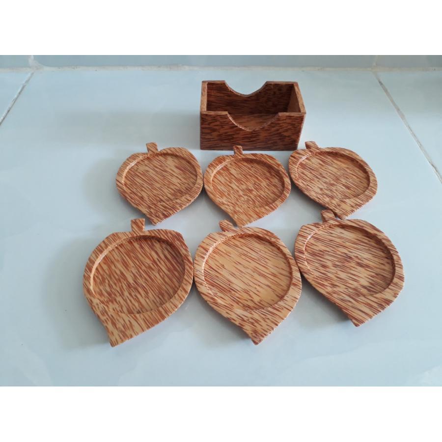 Bộ 6 đế lót ly hình chiếc lá bằng gỗ dừa mỹ nghệ