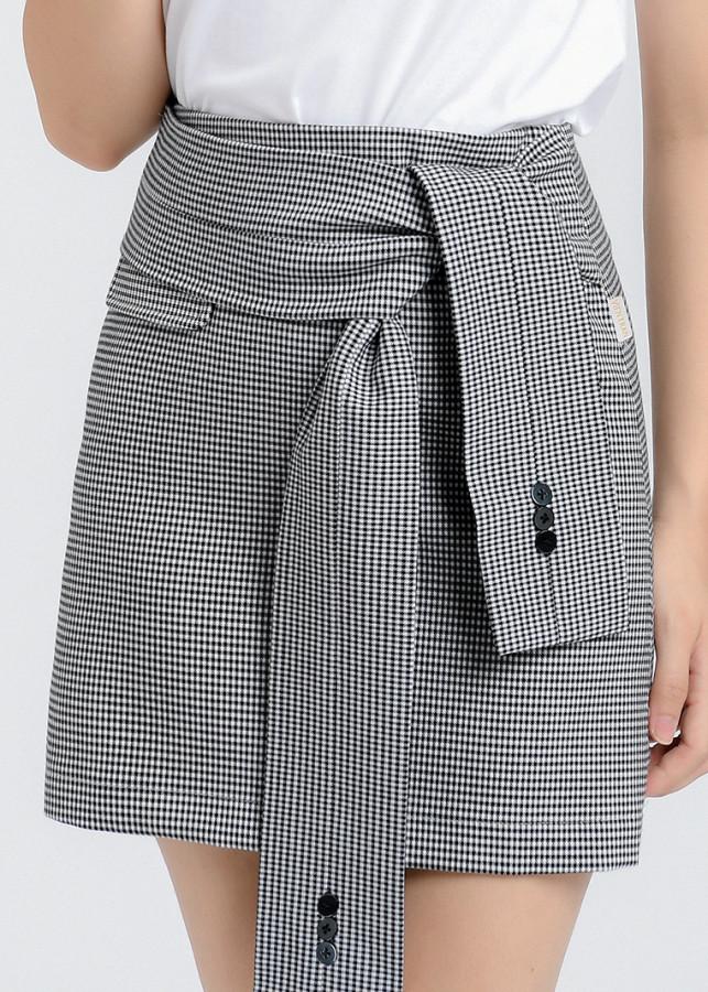 Chân váy A buộc đai Vienne Tran V62R19Q002-R1C14  (Kẻ đen trắng)