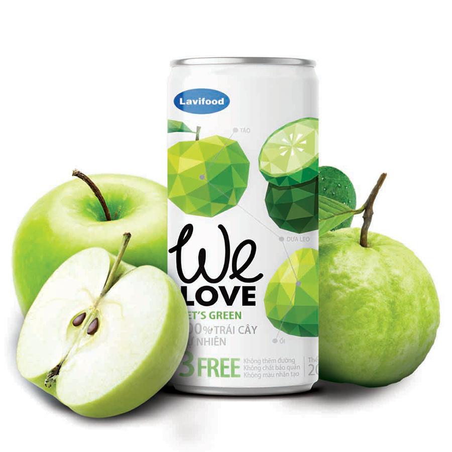 Nước trái cây tự nhiên WE LOVE Let's Green 200ml x1 Lon