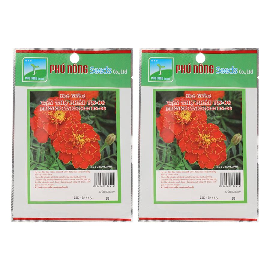 Bộ 2 Gói Hạt Giống Hoa Vạn Thọ Pháp PN06 Phú Nông (1g / Gói)