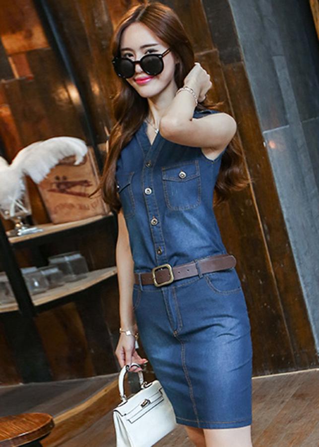 Đầm jean đẹp kiểu đầm jean phối nút kèm thắt lưng GOTI047295