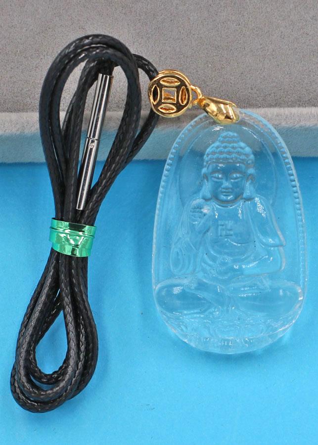 Vòng cổ Phật A Di Đà thủy tinh trong 3.6 cm DFBTT7