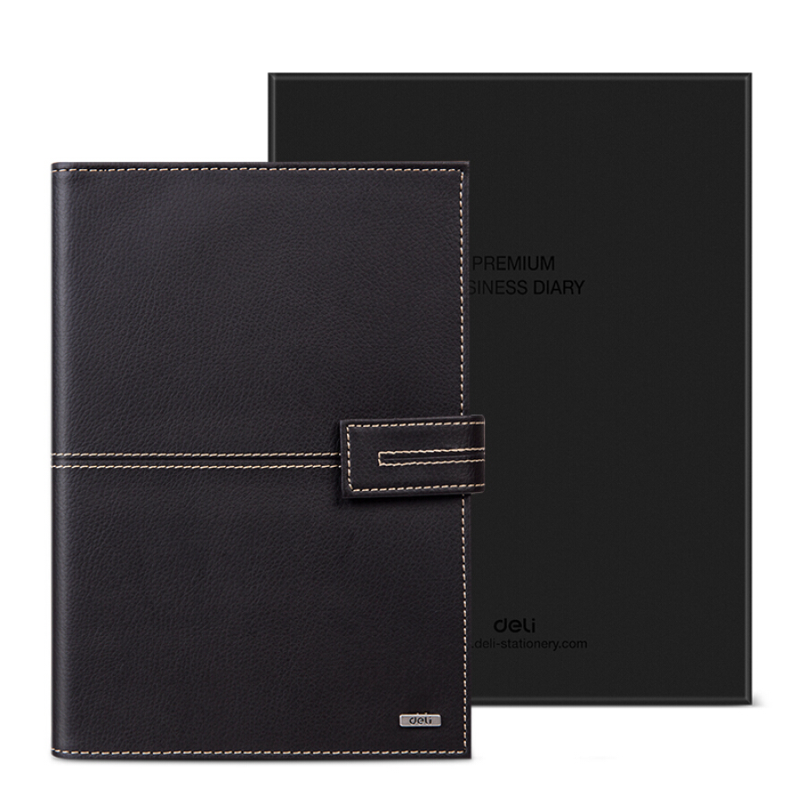 (Deli) 3158 hardcover office live leather skin / this notebook manual (label ruler calendar pocket) 25K / 97 page brown