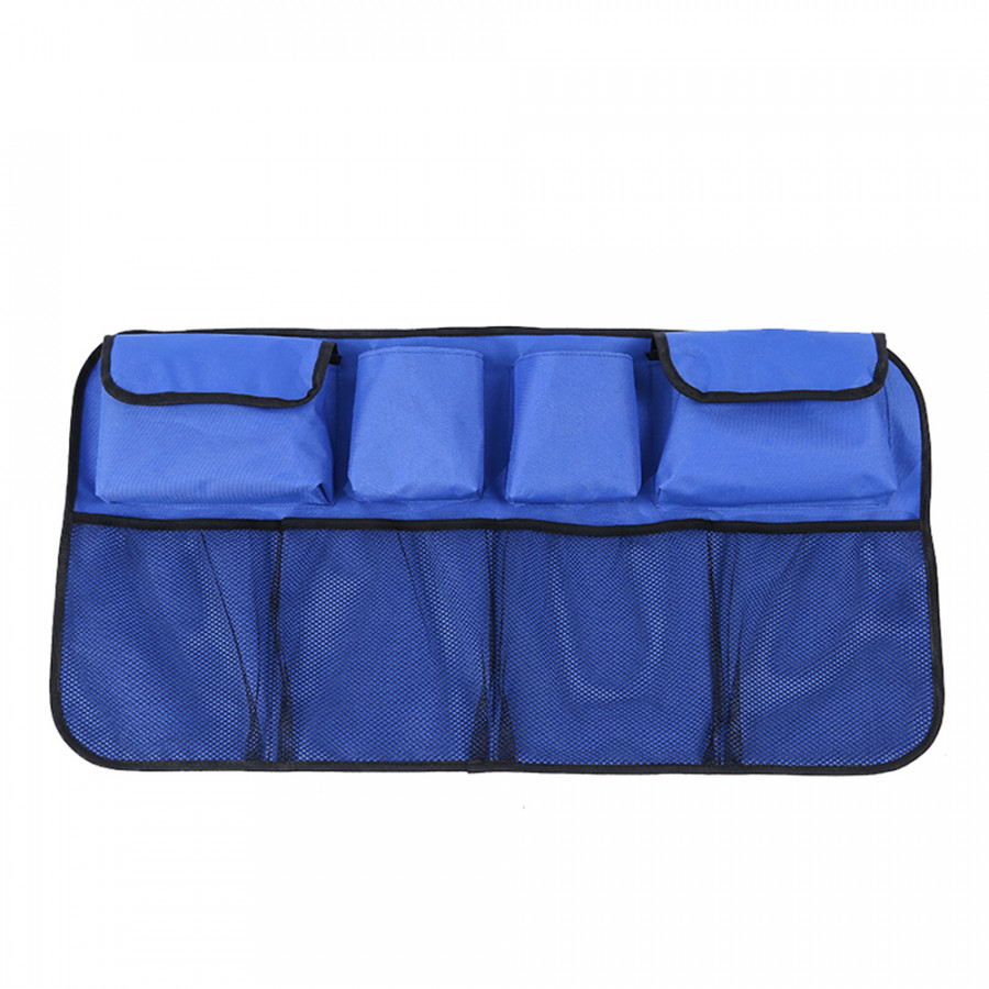 Car Trunk Organizer Bag Back Seat SUV Foldable Auto Storage Stowing Tidying Trash Automobile Pouch Blue