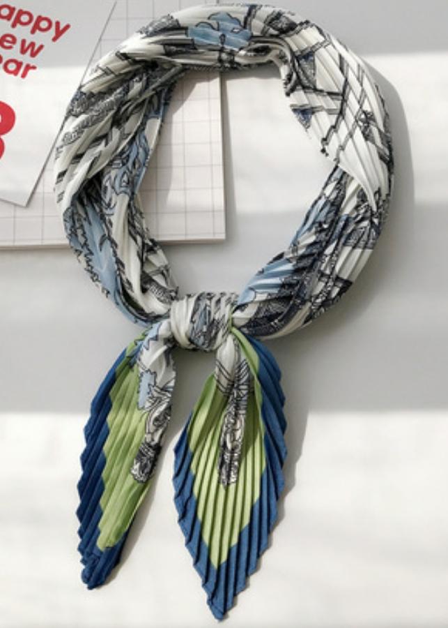 Khăn lụa, khăn Turban cao cấp xếp li mềm-trắng pha xanh
