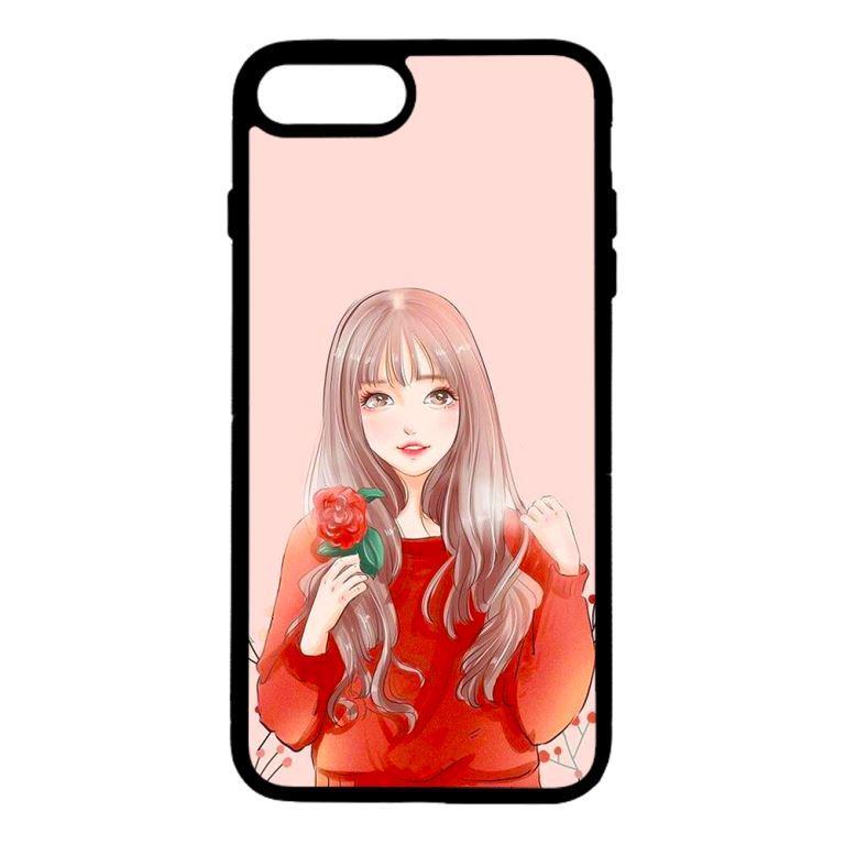 Ốp lưng dành cho điện thoại Iphone 8 Plus Cô Gái Cầm Hoa