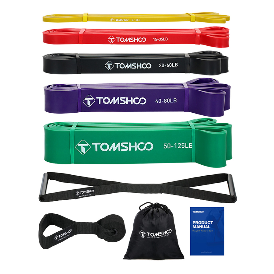 TOMSHOO 5 Packs Pull Up Assist Bands Set Resistance Loop Bands Powerlifting Exercise Stretch Bands with Door Anchor and