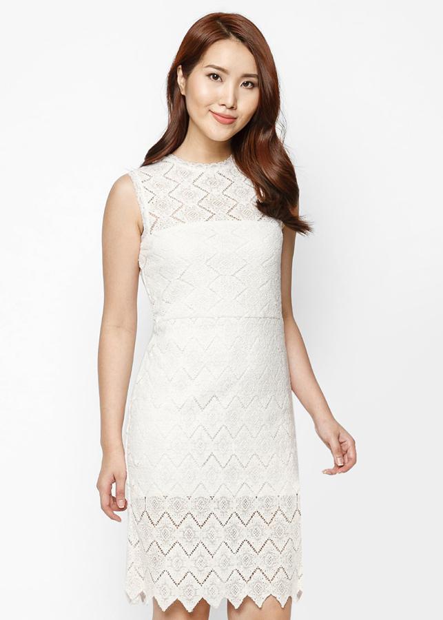 Đầm Ren Thêu Hàn Quốc Cao Cấp Black  White Hoàng Khanh - HK 408