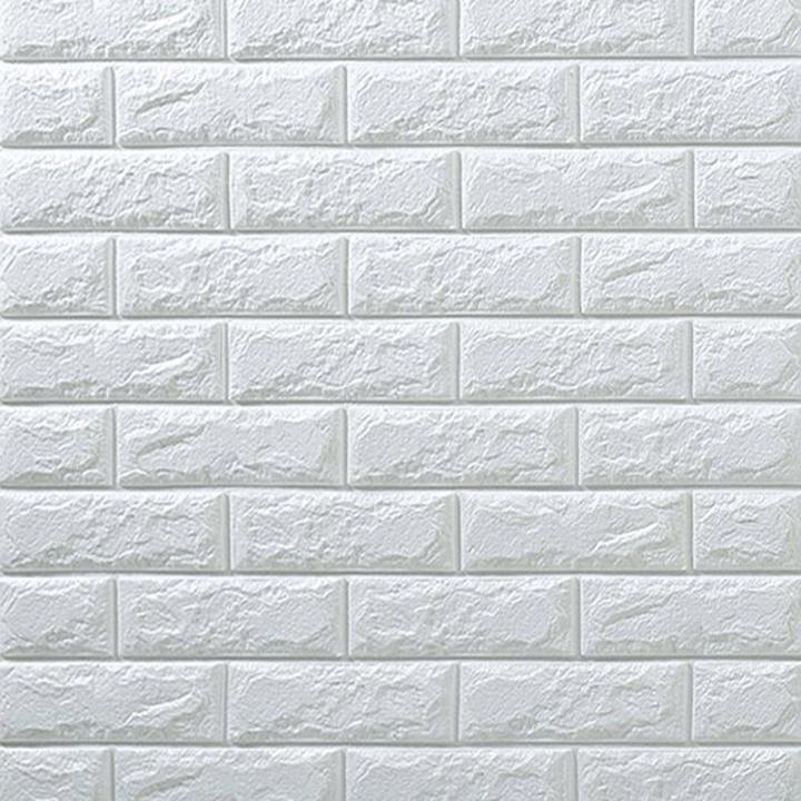 Bộ 10 tấm xốp dán tường 3D trắng - 77x70cm