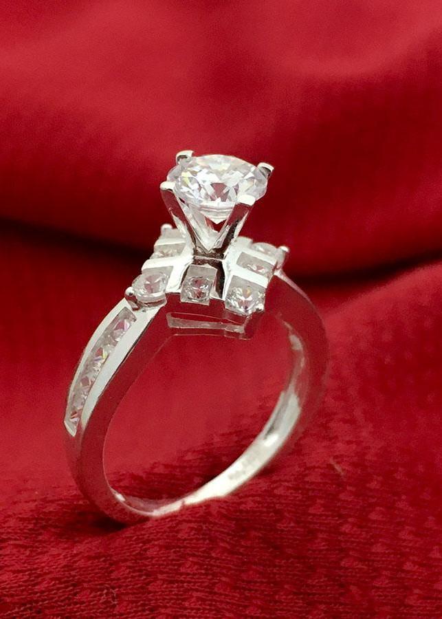 Nhẫn nữ ổ cao bốn chấu gắn đá kim cương nhân tao bạc 925 không xi mạ trang sức Bạc QTJ - BQTJ26-44(BẠC)