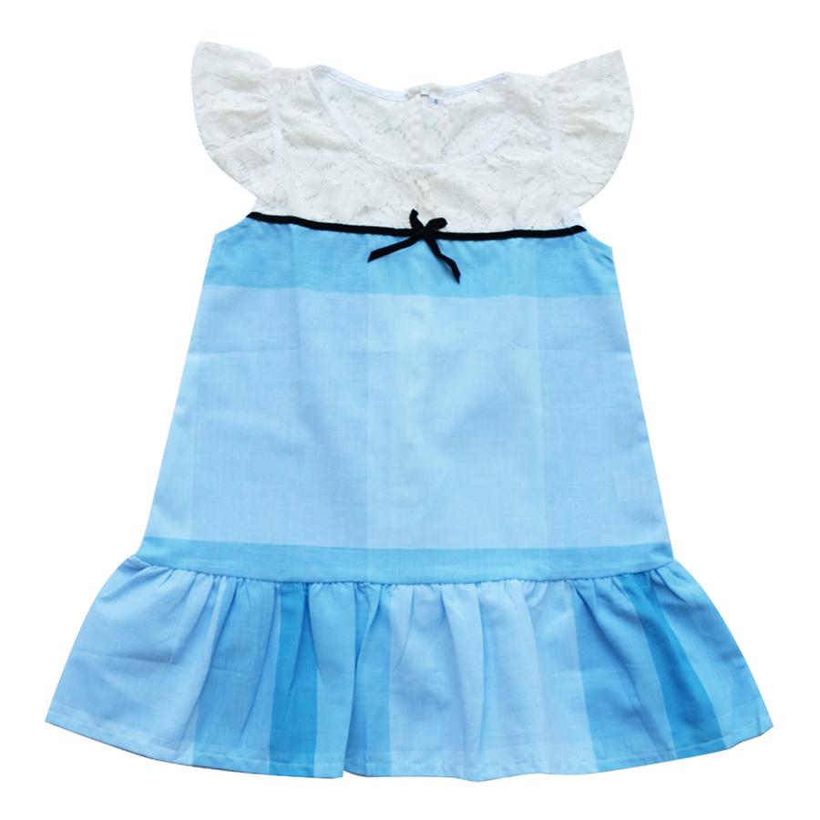 Đầm Bé Gái CucKeo Kids Sọc Xanh To Đô Ren T101856 - Xanh