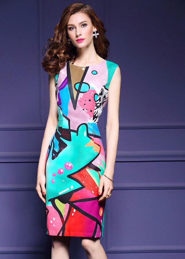 7999731821738 - Đầm ôm dự tiệc kiểu đầm ôm hở lưng in họa tiết sắc màu ROMI1693