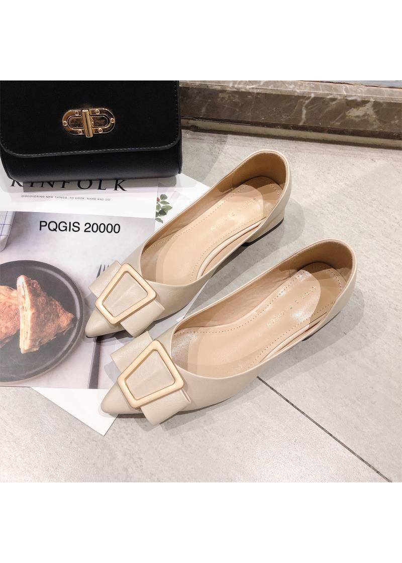 Giày cao gót Nữ mũi nhọn đính nơ, khoét eo, gót vuông VM: PQGIS20000