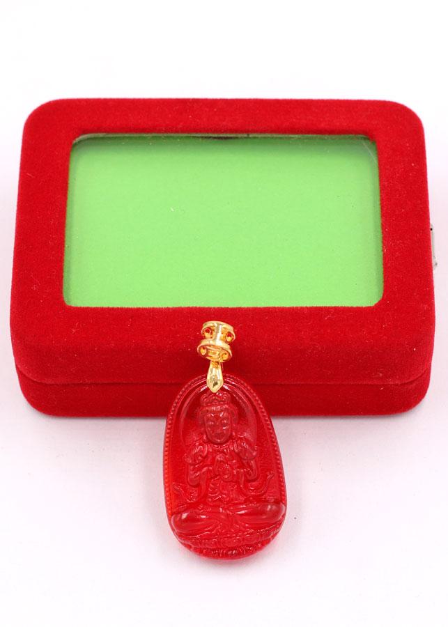 Mặt dây chuyền Phật Đại Nhật như lai pha lê đỏ 3.6 cm MFBO5 - Phật bản mệnh tuổi Mùi, Thân