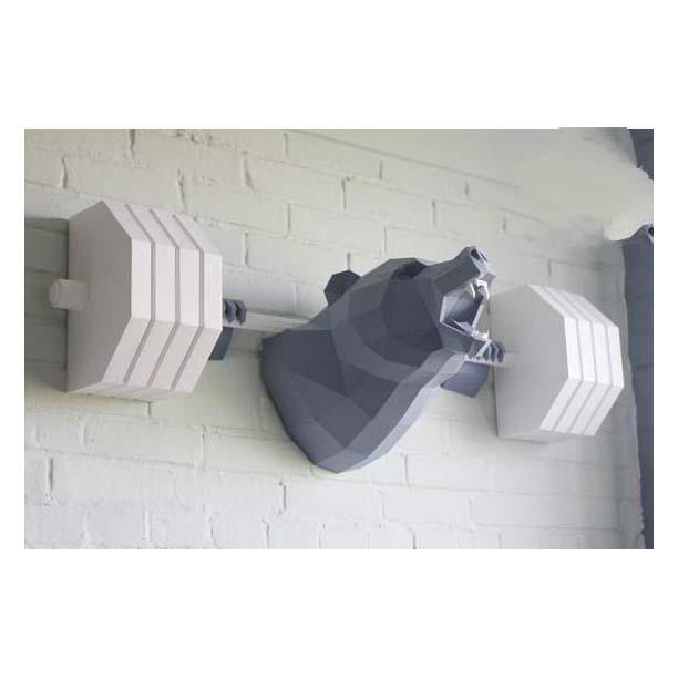 Mô hình giấy 3D   Mô hình trang trí nhà cửa   Mô hình giấy 3D Gấu cử tạ
