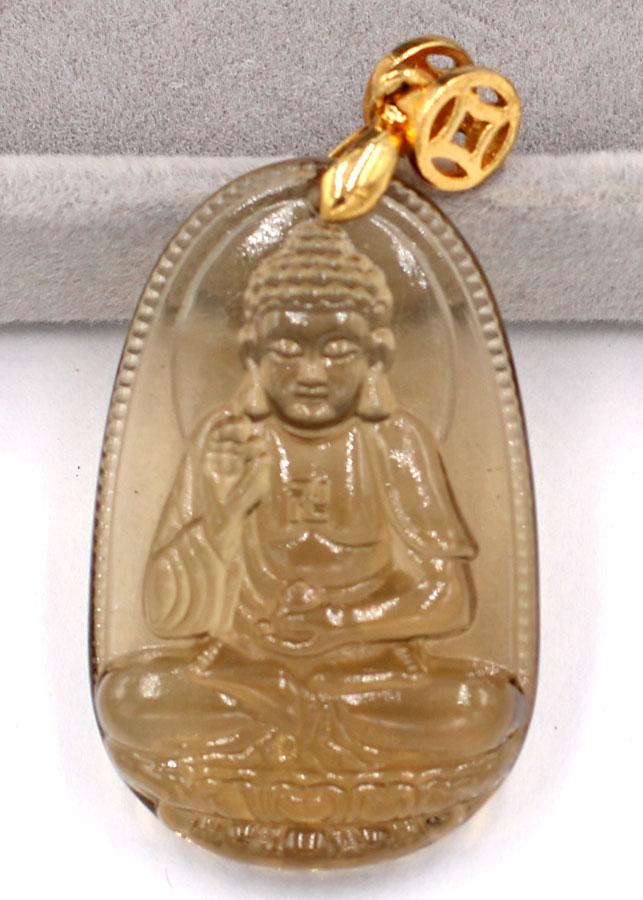 Mặt dây chuyền Phật A Di Đà - đá Obsidian 3cm - tuổi Tuất, Hợi