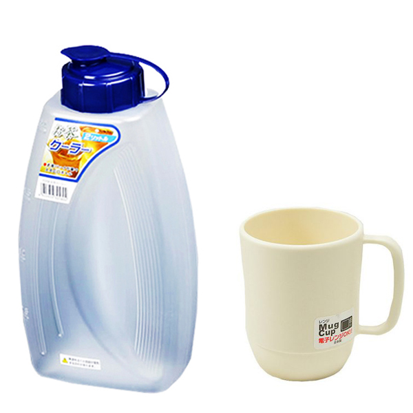 Combo Bình đựng nước 2L + Cốc nhựa uống nước màu trắng ngà cao cấp nội địa Nhật Bản