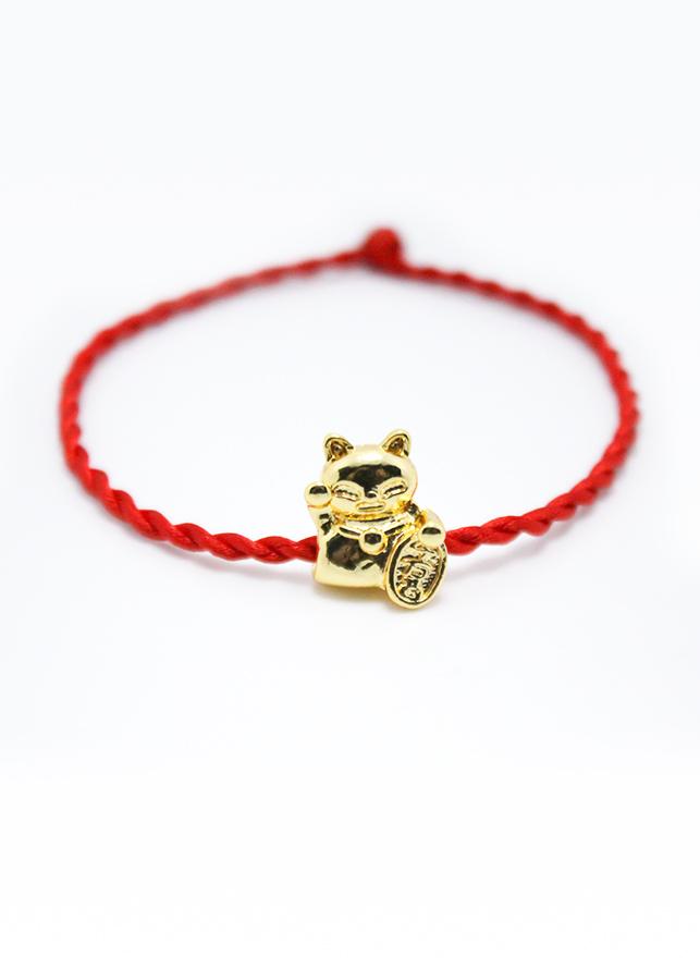 Vòng phong thủy, vòng dây chỉ đỏ may mắn mix mèo tài lộc CD1-M