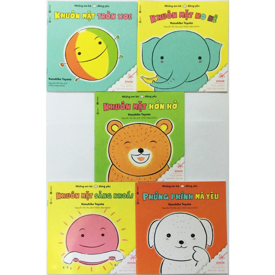 Combo Ehon những em bé đáng yêu (Trọn bộ 5 cuốn) - Tặng kèm 1 tẩy hình con vật ngẫu nhiên như hình